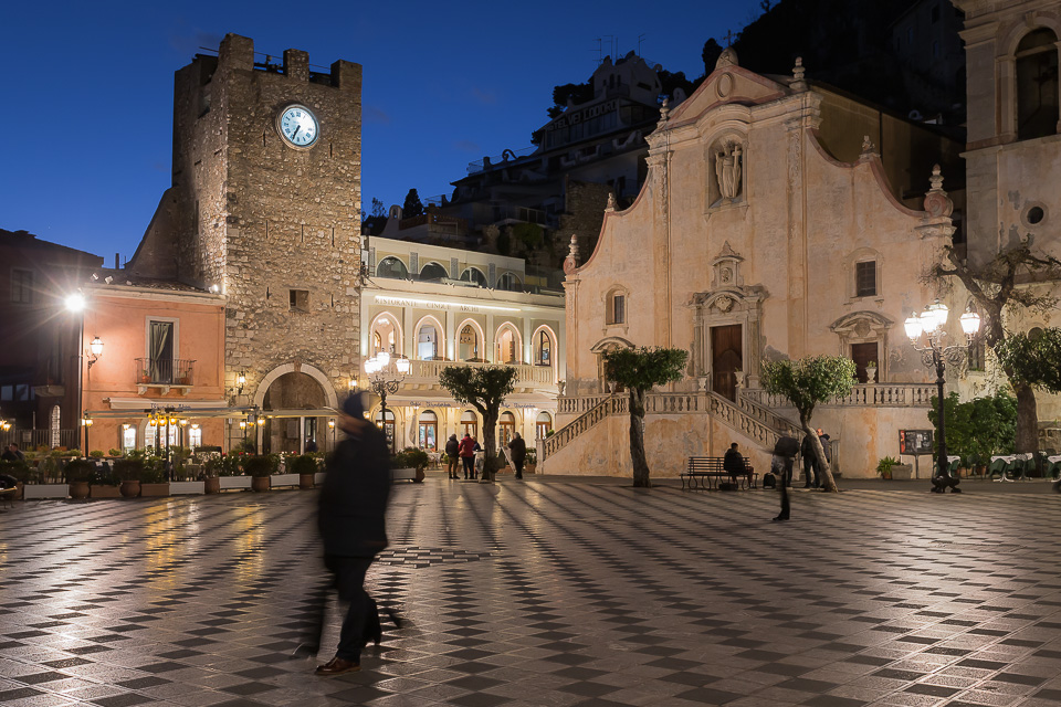 Piazza IX Aprile square, San Giuseppe church and Clock Tower in Taormina, Sicily.
