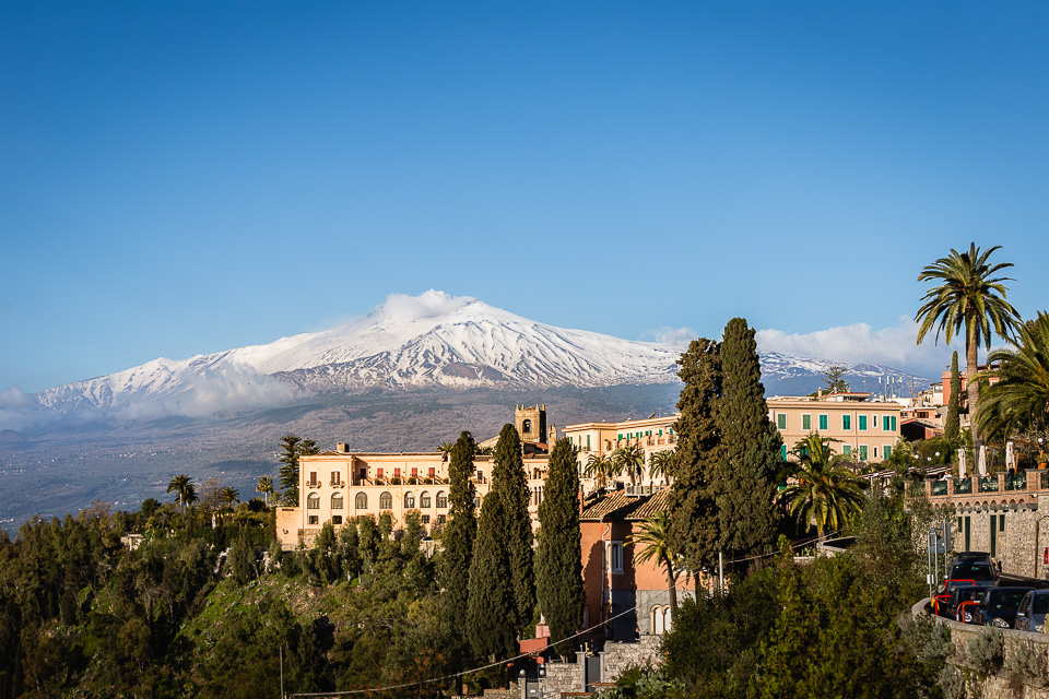 Town of Taormina with Mount Etna, Sicily.