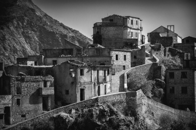 The abandoned village of Roghudi Vecchio in the Aspromonte Mountains, Calabria, Italy.