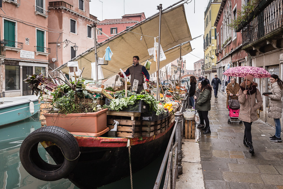 Fruit and vegetable canal boat shop in Venice, Italy