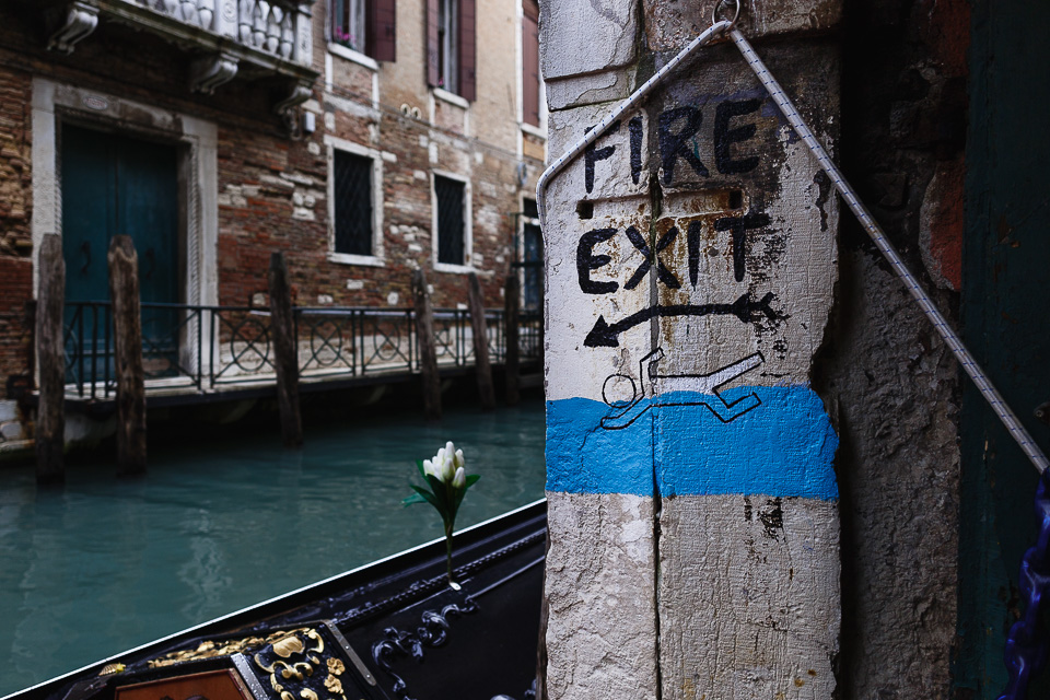 I love easy and obvious solutions. In Venice, in the Acqua Alta bookshop, the fire escape is simply a door that leads directly into a canal, Venezia, Italy