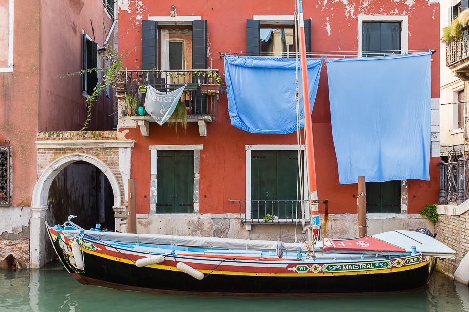 Parked Sailboat in Venice, Italy