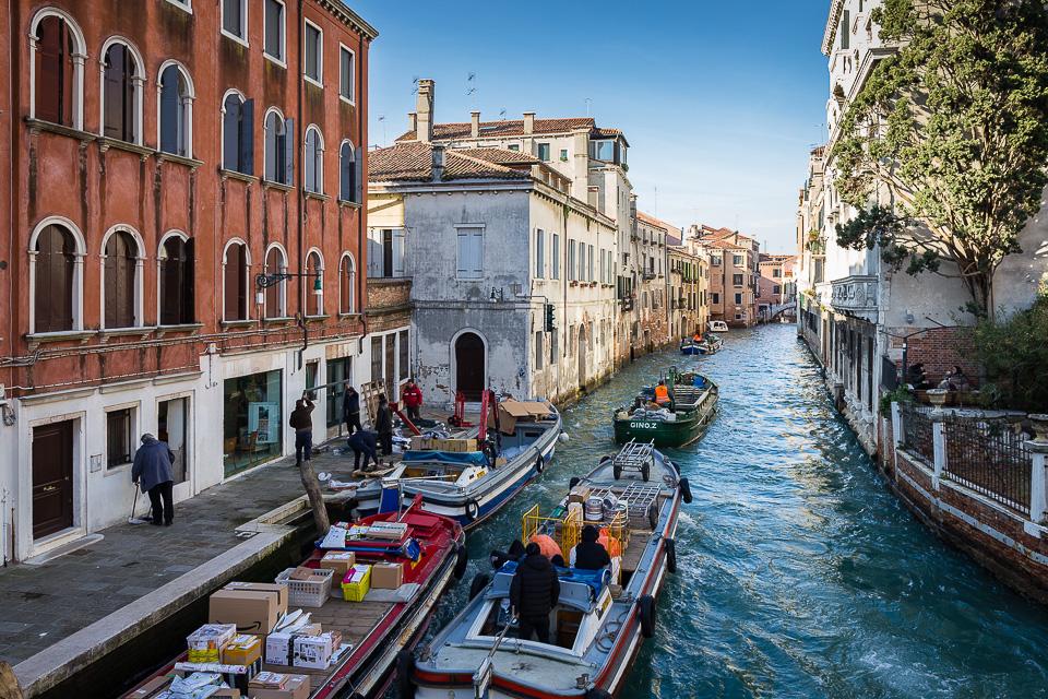 Cargo boat in Venice, Italy