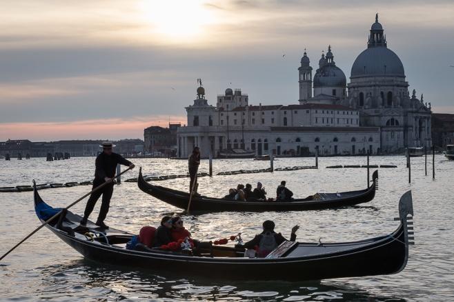 Gondolas and Santa Maria della Salute Basilca, Venice, Italy