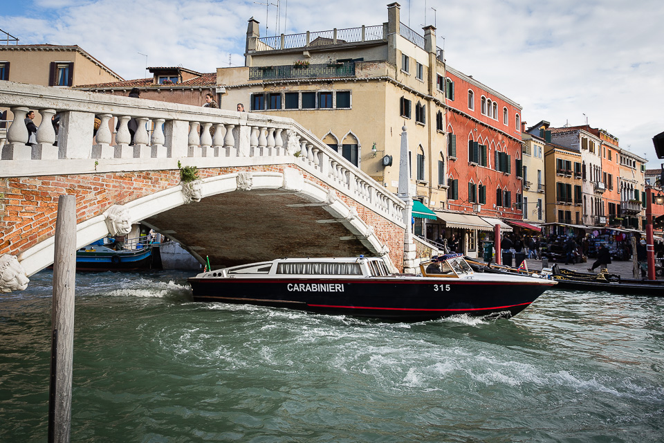 Motorboat of Carabinieri (Police), Venice, Italy