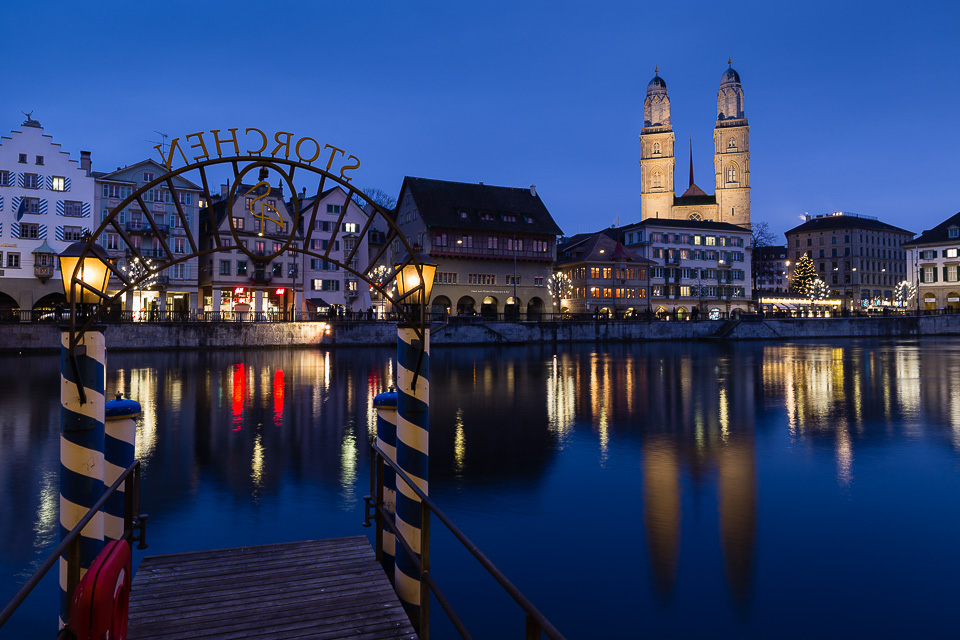 Old Town and Limmat river at night, Zurich, Switzerland