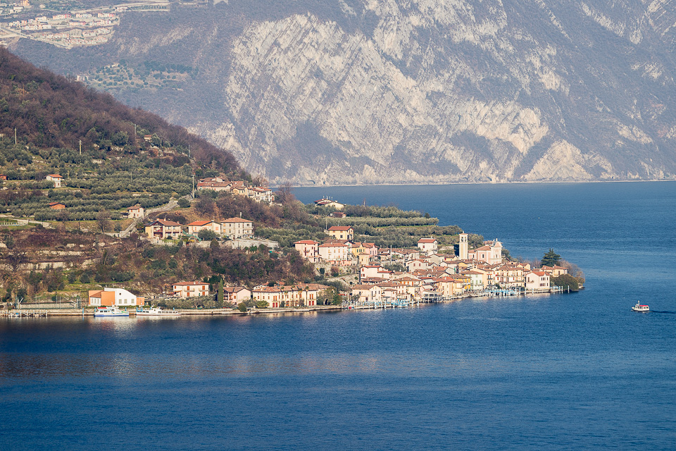 The village of Carzano on Monte Isola in the Iseo lake, Lombardy, Italy