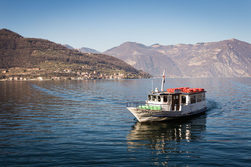Boat on Iseo lake (Lago d'Iseo), Lombardy, Italy