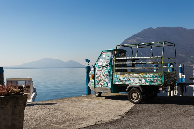 Ape Car by the Lake, Monte Isola, Iseo lake, Italy