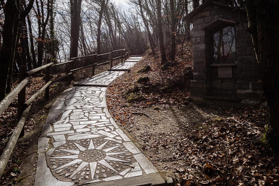 Path to Madonna della Ceriola sanctuary, Monte Isola, Lake Iseo, Lombardy, Italy