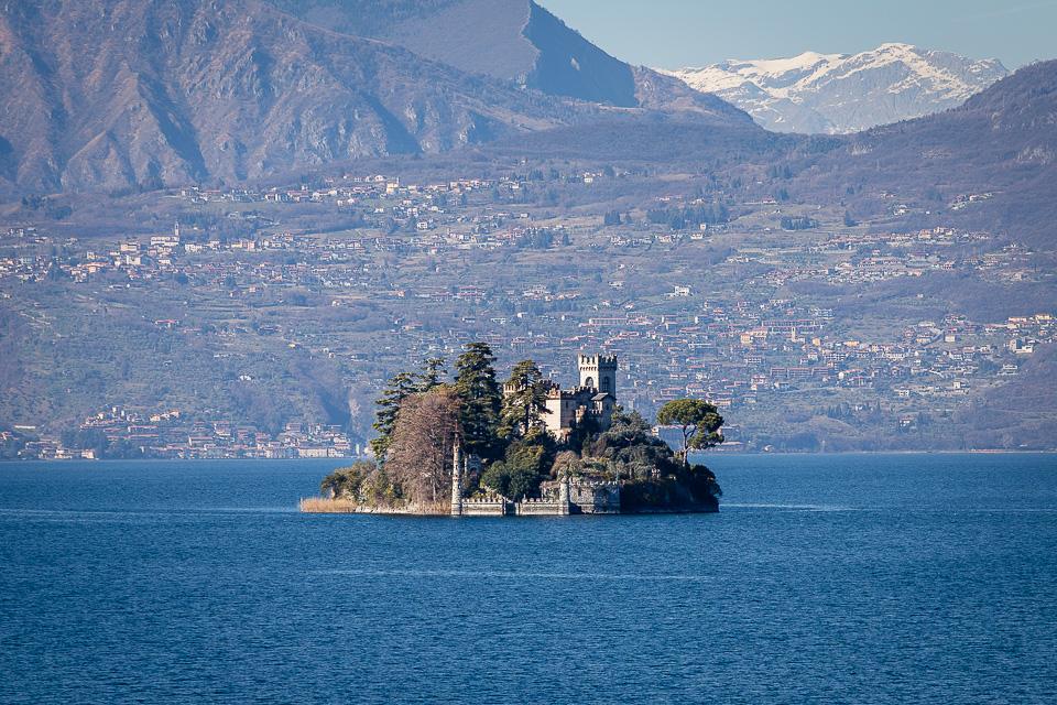 Loreto isle on Iseo lake, Lombardy, Italy