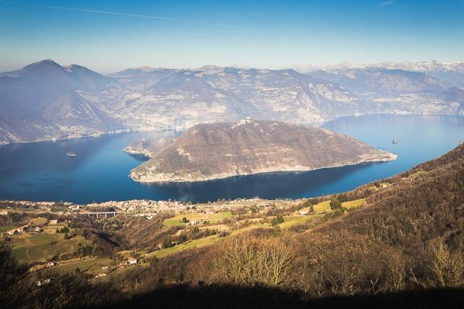 Iseo lake seen from Santa Maria del Giogo, Lombardy, Italy