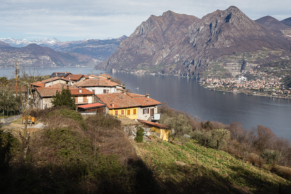 Village of Olzano on Monte Isola, Lake Iseo, Lombardy, Italy