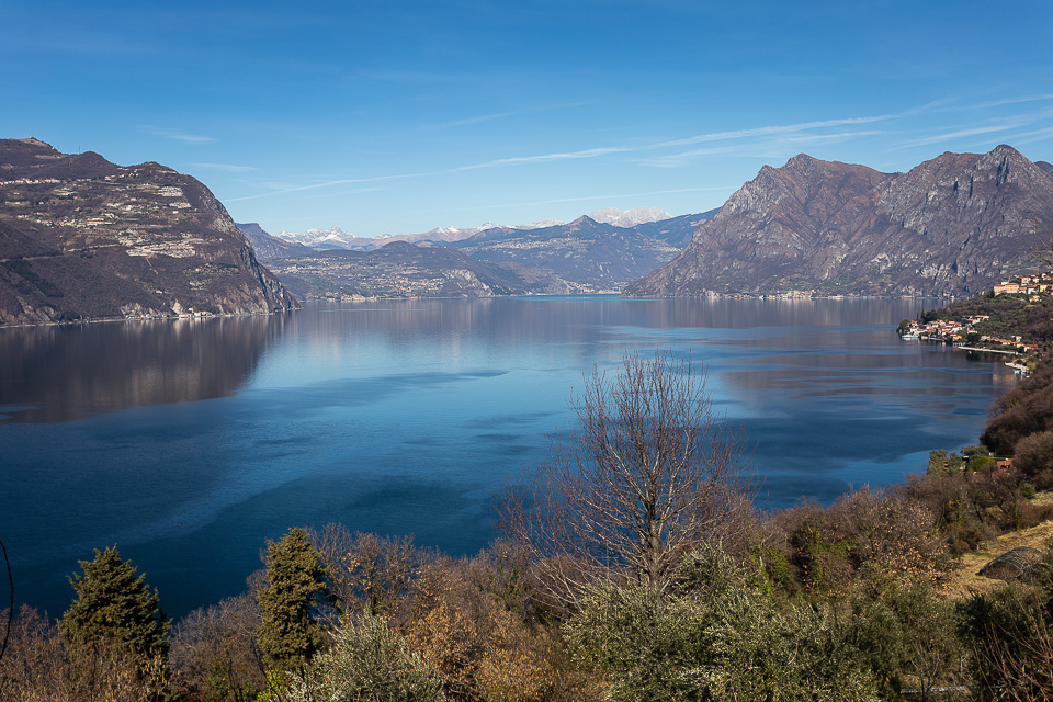 Lake Iseo seen from Monte Isola island, Lombardy, Italy