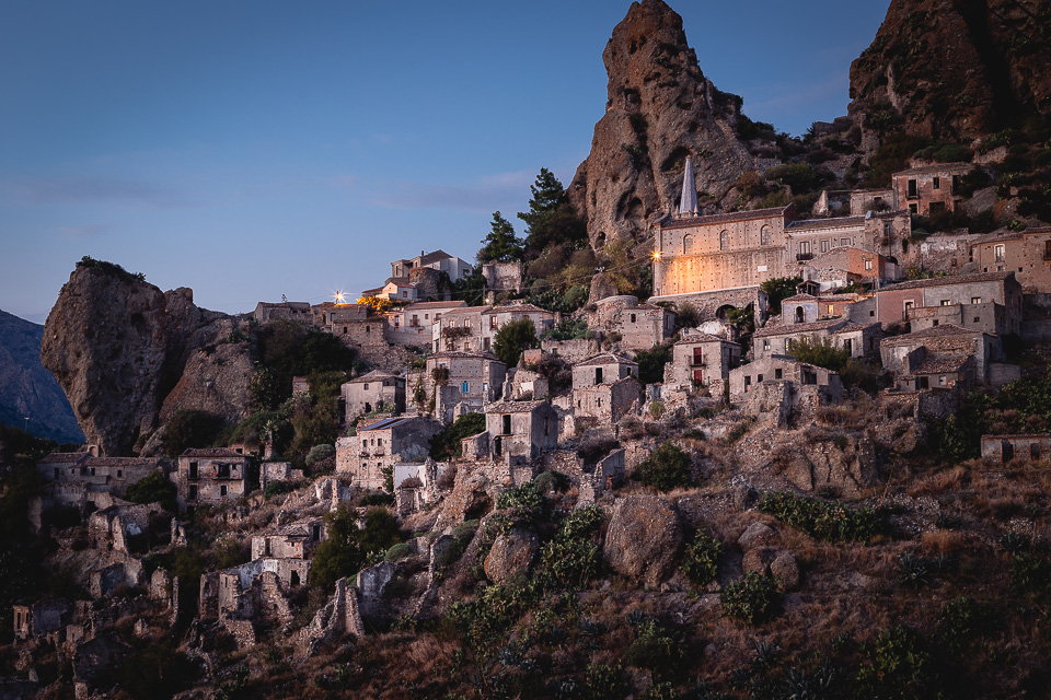 Ancient Pentedattilo at dusk, Calabria, Italy