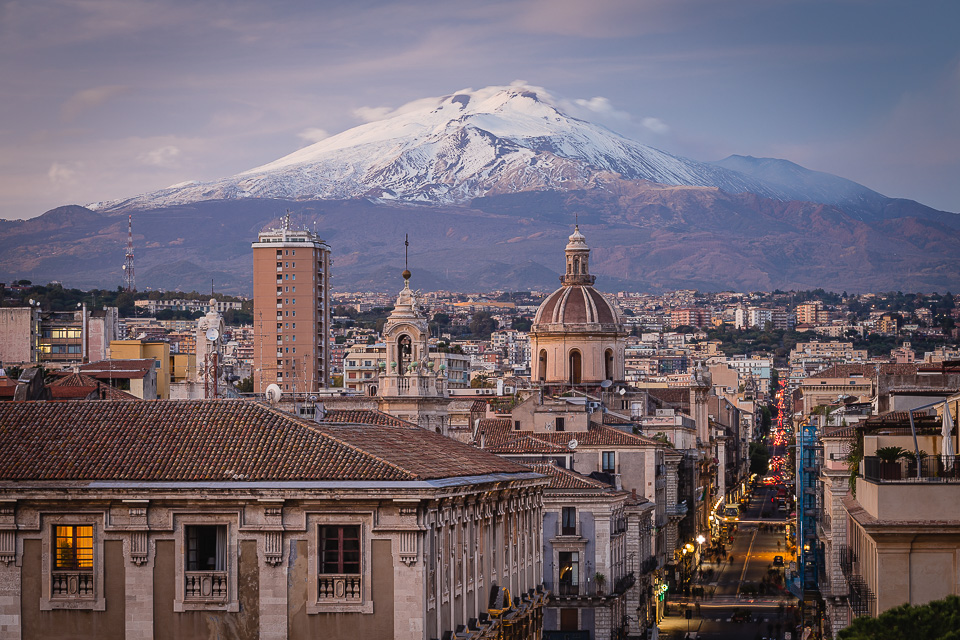 The city of Catania and Mount Etna volcano, Sicily, Italy