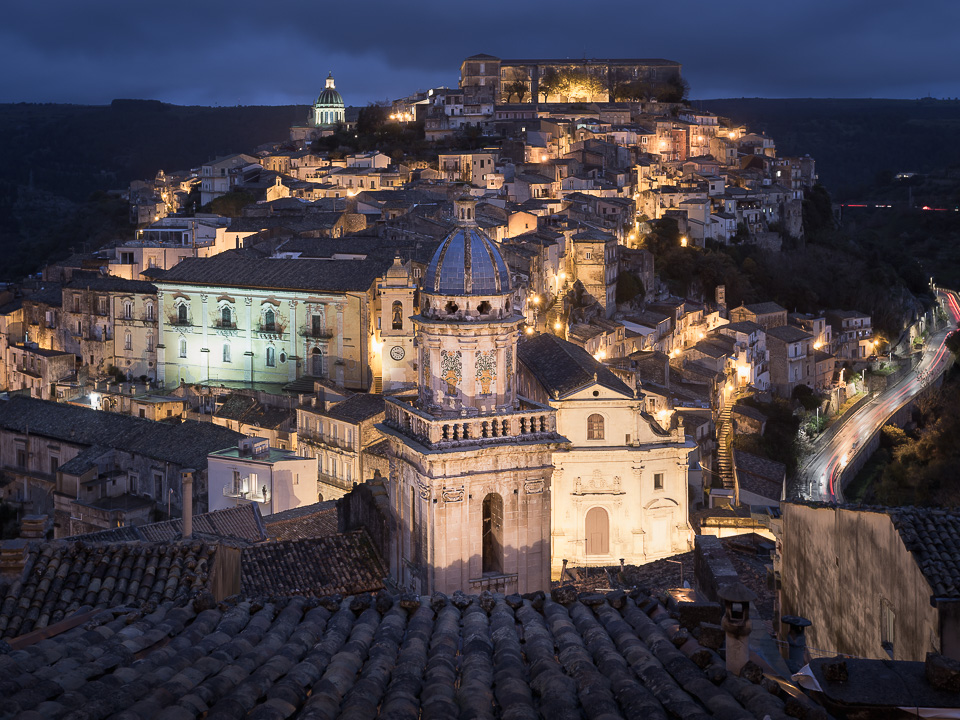 Santa Maria dell'Itria belltower and the town of Ragusa Ibla, Sicily, Italy