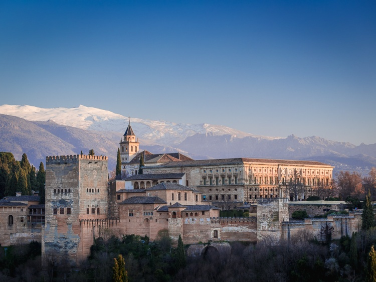 Alhambra seen from Albaicín, Granada, Andalusia, Spain