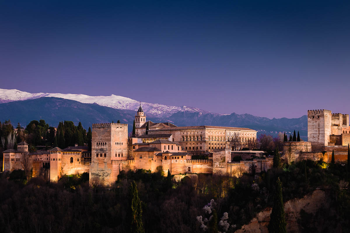 The Alhambra seen from Albaicín, Granada, Andalusia, Spain