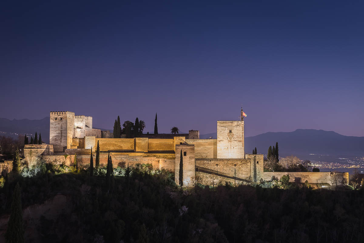 The Alcazaba, a fortress, is one of the oldest part of the Alhambra, seen from Albaicín, Granada, Andalusia, Spain