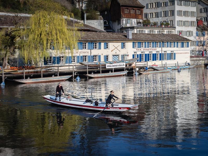 Fiume Limmat, città vecchia, Zurigo, Svizzera